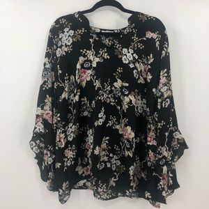 Maurices Floral Ruffle Sleeve Blouse